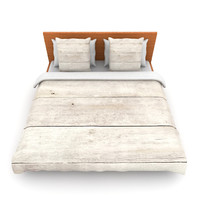 "Susan Sanders ""White Wash Wood"" Beige White Lightweight Duvet Cover"