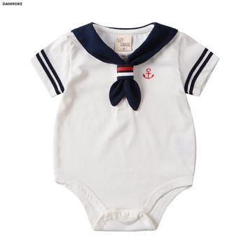 Danmoke 2017 Baby Clothes White Navy Sailor Uniforms Summer Baby Rompers Short Sleeve One-pieces Jumpsuit Baby Boy Girl Clothing