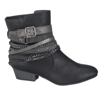 halo strappy bootie in black