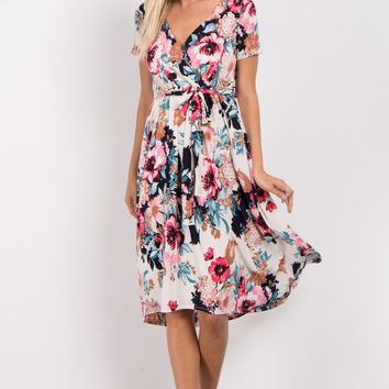 White-Fuchsia-Floral-Hi-Low-Wrap-Dress