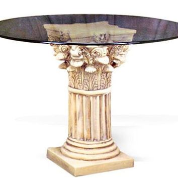 Corinthian Column Wide Fluted Dining Table Base 29H
