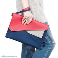 Envelope clutch, navy blue red, case for ipad