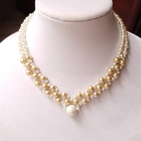 Wedding Beaded Pearl Necklace, Glass Pearls Wedding Jewelry, Bridal Jewelry, V Necklace, Beaded Necklace, Faux Pearl Wedding Jewelry