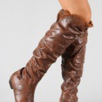 Firenze-6A Round Toe Slouchy Thigh High Boot