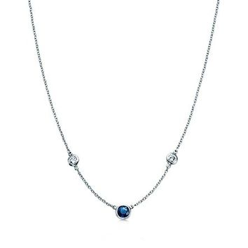 Tiffany & Co. -  Elsa Peretti® Diamonds by the Yard® necklace with a sapphire in platinum.