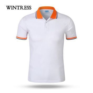 WINTRESS Can Custom Picture Male Polo Shirt England Style Short Sleeve Striped Top With Button Men Shirt Class uniform