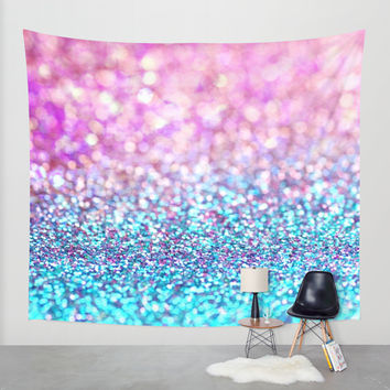 Pastel sparkle- photograph of pink and turquoise glitter Wall Tapestry by Sylvia Cook Photography