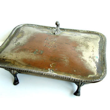 Antique Unique Metal Box with Hinged Lid Decorative by ThirdShift