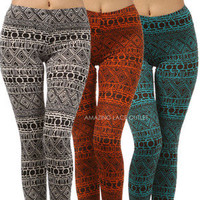 Tribal Print Leggings Fashion Trend Aztec Stretch Full Length Ladies Trousers