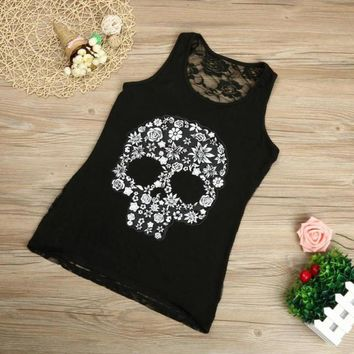 Plus Size S-5XL Tank Top Women 2017 Fitness Work Out Back Lace Skull Print Sleeveless Tank Top For Women Black Pink White #418