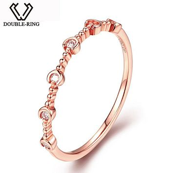 DOUBLE-RING 18K Gold rings Real 0.059ct SI1 Diamond Rings Wedding jewelry Natural Women Fine Jewelry Customized CAR06958KA-3