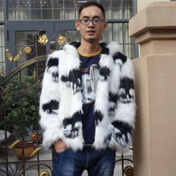 Mens Hooded Large Size Faux Fox Fur Skull Printing Casual