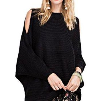 Easel Women's Chunky Knit Oversized Pullover Cold Shoulder Split Sleeve Boatneck Sweater