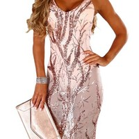 Pink Sheer Sequined Midi Club Bodysuit Dress