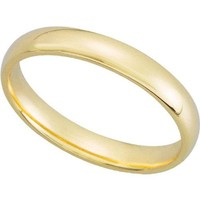 14K Yellow Gold 3mm Comfort Fit Plain Women's Wedding Band (Available Ring Sizes 4-9)
