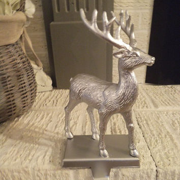 Upcycled Silver Deer  Stag STOCKING holder ~  Elegant Shabby Chic Christmas decoration Hook