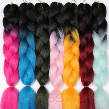 ESB1ON MISS WIG Ombre Kanekalon Braiding Hair Extensions 24inch 100g Synthetic Jumbo Braids Hair Fiber Pink Purple Blue Green 1pce