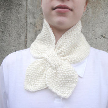Cream Ascot Scarf, Chic Bow Scarf, Hand Knit Mohair Blend, Office Scarflette