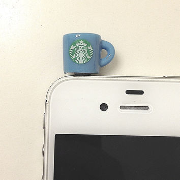 Phone dust plug jack coffee Starbucks cup blue by donutsandcoffee
