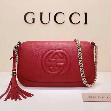 Gucci Women's New Style Leather Tassel Chain Shoulder Bag #34961 - Best Deal Online