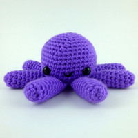 Bright Purple Big Octopus - Ready to Ship - Amigurumi Crochet Plushie