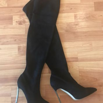 Stretchy suede slim thigh high boots ~ 3 colors!