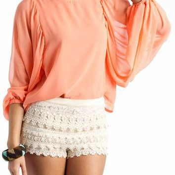 oversized sleeve sheer top $34.00 in BLACK OFFWHITE PEACH - Long Sleeve | GoJane.com