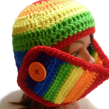 Crochet Knight's Helmet Face Mask Beanie Hat in Rainbow