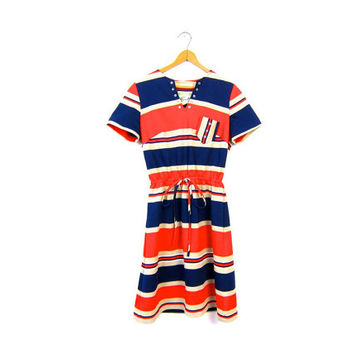 Retro MOD Micro Mini 60s Dress Striped Orange Blue Tshirt 70s Dress Hipster Go Go Club 1960s Disco Louannes Vintage Women's Small Medium