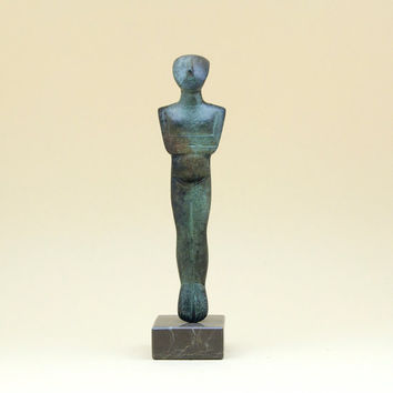Greek Cycladic Bronze Figurine, Metal Sculpture Abstract Art, Greek Statue, Museum Replica, Minimalist Cycladic Art, Home Decor