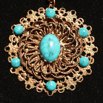 Vintage Boho Hippie Medallion Necklace Faux Turquoise and Brass