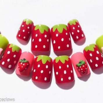 Strawberry Fake Nails 3d Nails 3d Nail Art Kawaii Nails Kawaii Nail Art Acrylic Nails False Nails Summer Nail Art Cute Nails Kawaii