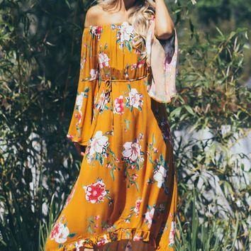 Floral Off The Shoulder Maxi Bronze