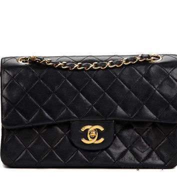 CHANEL BLACK QUILTED 2.55 LAMBSKIN SMALL CLASSIC DOUBLE FLAP BAG GHW HARRODS