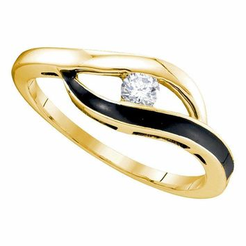 10kt Yellow Gold Women's Round Diamond Solitaire Black-tone Promise Bridal Ring 1/8 Cttw - FREE Shipping (US/CAN)