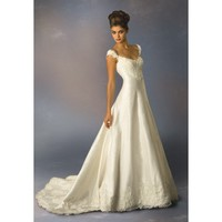 Off the Shoulder Taffeta Wedding Dress with Lace Hem Line  - Star Bridal Apparel