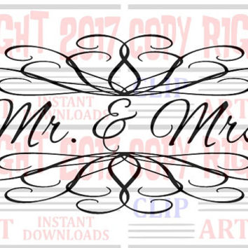 Mr. & Mrs. Wall decal clipart, Sign clip art for Husband and wife, Wedding clipart Mr and Mrs clipart