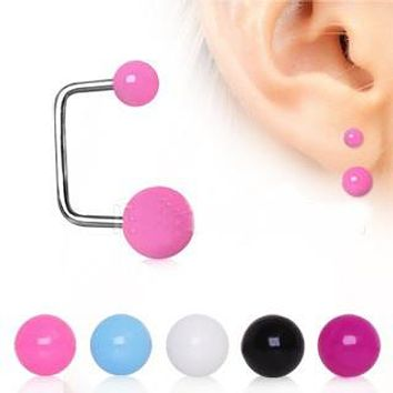 316L Surgical Steel Loop Earring Set with UV Acrylic Balls