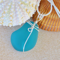 Sea glass necklace, wire wrapped glass, blue green necklace, sea glass pendant, boho chic jewelry, seaglass jewelry, summer necklace, boho
