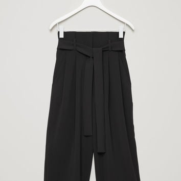 TROUSERS WITH WAIST TIE - Black - Trousers - COS