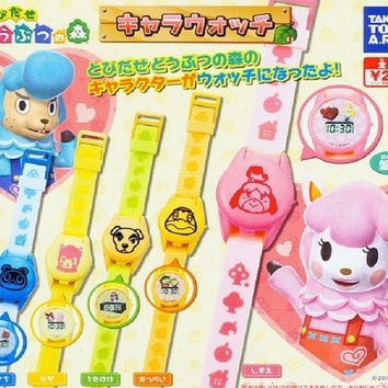 Takara Tomy Animal Crossing New Leaf Gashapon Digital Watch 5 Collection Figure Set
