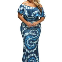 Plus Size Slash Blue Women's Maxi Dress