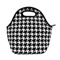 KOSOX® Neoprene Lunch Tote/ Lunch Bag/ Snack Bag - Taste of Home - Simple & Delicious (Houndstooth)