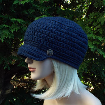 Navy Blue Cadet Hat - Womens Military Cap with Metal Buttons - Crochet Hat with Visor