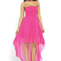 Pink Strapless Chiffon High-Low Dress with Rouche Front