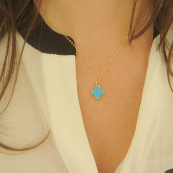 14K Gold 4 Leaf Clover Stacking Necklace, Small Colored Lucky Clover Necklace, Simple Lariat Necklace, Layering Necklace, Tiny Clover Chain
