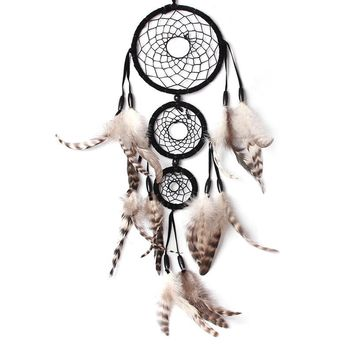 60cm Handmade Black Dream Catcher Net With feathers Wall Hanging Craft Gift Room Decor adesivos para parede