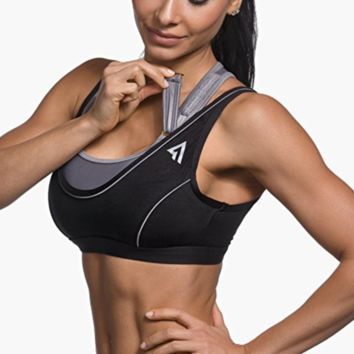 Adjustable Sports Bra -Max Support, Double Layer Wicking Microfiber