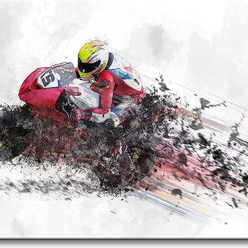 Motorcycle Rider Picture on Stretched Canvas, Wall Art Décor, Ready to Hang