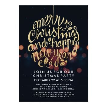 Black & White Bokeh Lights Merry Christmas Party Card